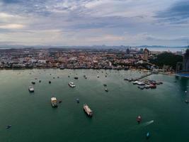 vista aérea, de, pattaya, playa, tailandia