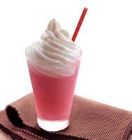 Strawberry milkshake isolated on white background