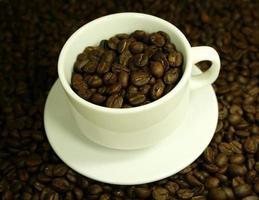 granos de cafe en taza de cafe foto