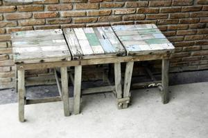Rustic wooden stools photo