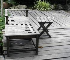 Wood bench and table on deck