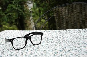 Glasses on table cloth