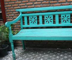 Turquoise bench outside