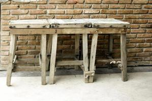 Old wooden stools photo