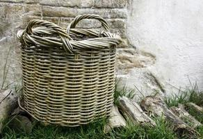 Empty basket on grass