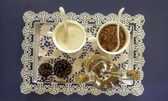 vista superior de la configuración del té foto