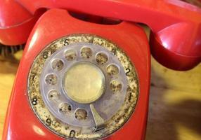 Red rotary phone photo