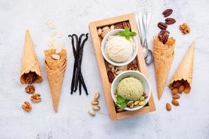 Various of ice cream flavours in bowls