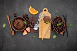 Chocolate ice cream flavours in bowl