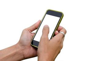 Smart phone in hand on white background photo