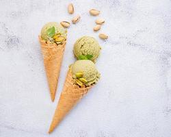 Pistachio ice cream in cones