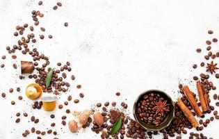 Background of various coffee, dark roasted coffee beans