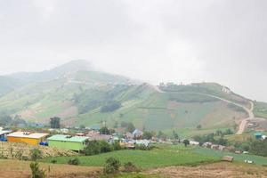 Villages and farmland in the mountains