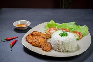 Pork and rice dish photo