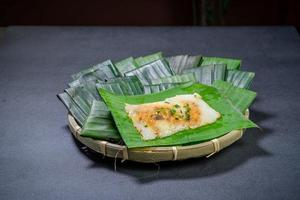 Pyramidal rice dumplings in basket photo