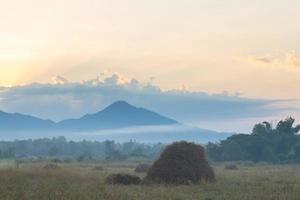 prado y montaña al amanecer foto
