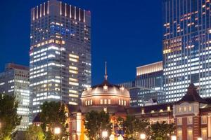 Tokyo train station in twilight