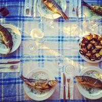 Seafood on table photo