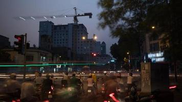 Hanoi, Vietnam, 2020 - Busy road in the evening photo
