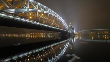 St. Petersburg, Russia, 2020 - Bolsheokhtinsky bridge at night