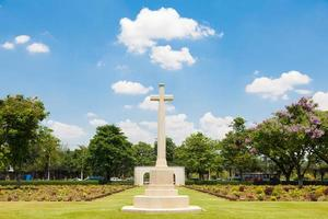 Cross in the cemetery in Bangkok