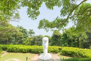Estatua de merlion en un parque en Singapur.