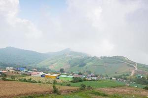 pueblos y tierras de cultivo en las montañas.