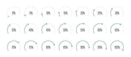 Set of circular sector percentage diagrams vector illustration