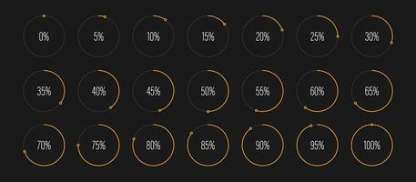 Set of circle percentage diagrams vector illustration
