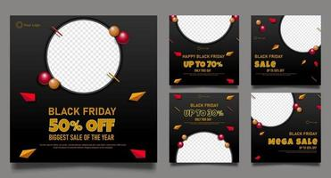 Black Friday Promo Fashion Sale for Social Media Post. vector