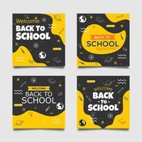 Back to School Square Web Banner Social Media Post Templates. vector