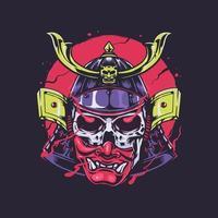 cráneo samurai shogun handdrawn ilustración vector
