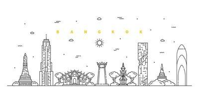 Bangkok city. Modern flat line landscape vector. Cityscape line art illustration with building, tower, skyscrapers, temple. Vector illustration.