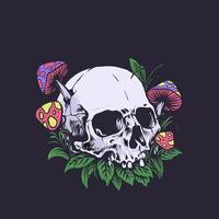 Abandoned skull, dark floral nature design vector