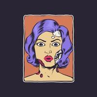 Zombie girl retro style illustration vector