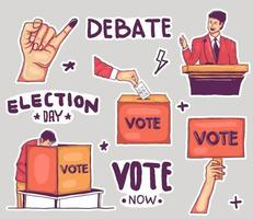 Colorful Hand drawn election stickers collection vector