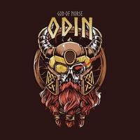 God of nordic odin illustration vector