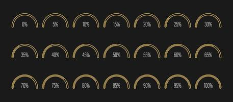 Set of semicircle percentage diagrams vector illustration