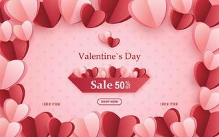 Valentines Day Sale Poster, Valentines Day offer with paper hearts