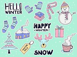 Colorful Hand drawn winter stickers collection vector