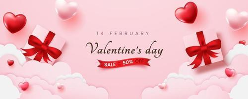 Promo Web Banner for Valentine's Day Sale with Glossy Heart Shapes. vector