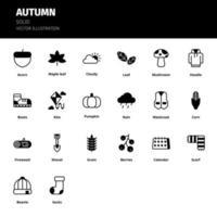 Autumn icon set. Autumn solid icon set. Icon for website, application, print, poster design, etc. vector