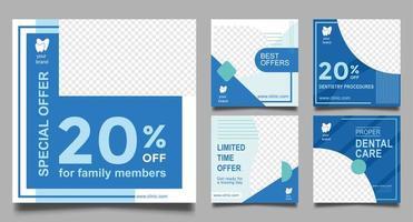 Dentist Social Media Post Templates. Medical Promotion Square Web Banner. vector
