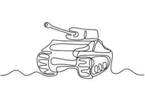Tank one line drawing. An army fighting vehicle designed, combat transportation minimalism art. vector