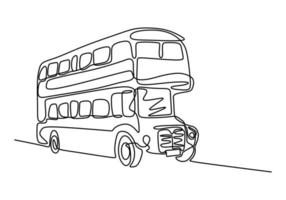 One line drawing of bus transportation. Double decker bus. Bus one line drawing. vector