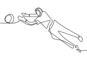 dibujo continuo de una línea de un joven jugando al fútbol como portero. vector