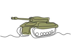 Tank one line drawing. An army fighting vehicle designed for front-line combat. vector