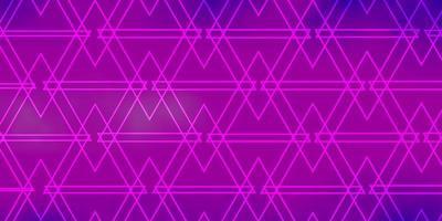 diseño de vector de color púrpura claro, rosa con líneas, triángulos.