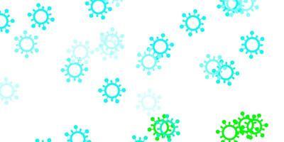 patrón de vector azul claro, verde con elementos de coronavirus.