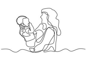Continuous one line drawing. Woman holds her baby. Deep hug to her children.